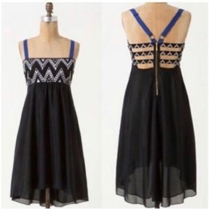8 Anthro Leifnotes Abaco Black Embroidered Dress